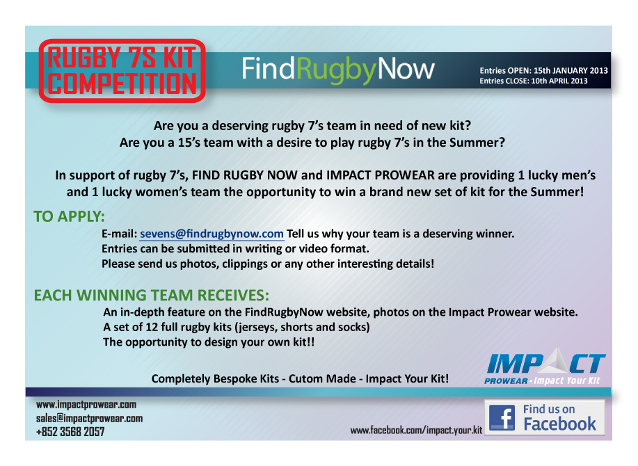 Free Rugby 7s Team Kit Competition!