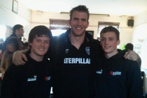 Tom Croft with Tom Ward and Will Barber at Welford Road prior to the 2011 Varsity Match.