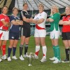 Non Evans (far left) at the height of her rugby career captaining Wales at the Six Nations